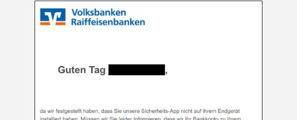 Ansicht einer Phishing-Mail mit Aufforderung, eine angebliche Sicherheits-App herunterzuladen